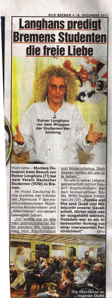 """""""Langhans predigt Bremens Studenten die freie Liebe"""" Die BILD-Zeitung berichtete im Jahr 2011 über den Vortrag beim VDSt zu Bremen"""
